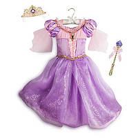 Карнавальный костюм ДеЛюкс: светящиеся платье Рапунцель, поющаятиара и светящаяся волшебная палочка,Disney, фото 1