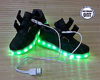 Кроссовки со светящей LED подошвой зарядка USB кабелем 34, 35 размеры
