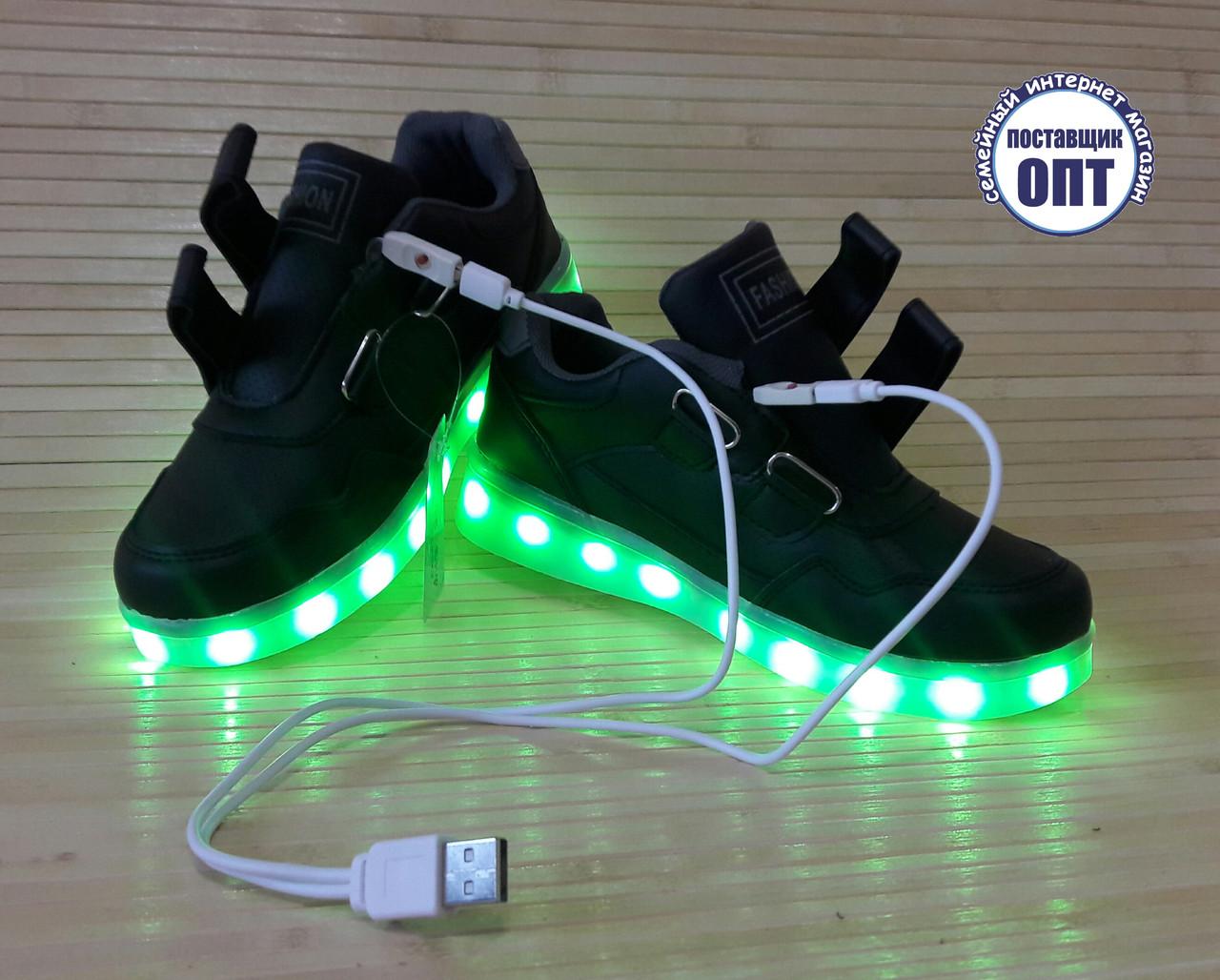 Кроссовки со светящей LED подошвой зарядка USB кабелем 35 размер
