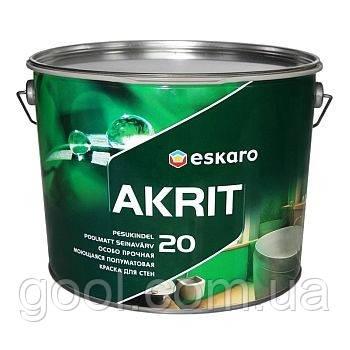 Краска Эскаро Акрит 20 особо прочная моющаяся полуматовая для стен в ведре по 9.5 литра