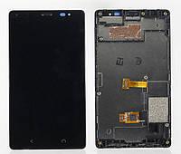 Дисплей для Nokia X2 Dual Sim (RM-1013) + touchscreen, черный, с передней панелью, оригинал (Китай)