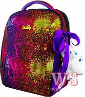 Рюкзак Delune 7-126 школьный детский для девочек рюкзачек для сменки мишка и ленточка 29 см х 20 см х37 см