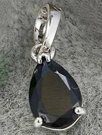 Кулон черная капля белая позолота GF848 - ОПТ