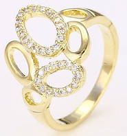 Кольцо позолоченное gold filled с цирконами GF956 размер 18 - ОПТ