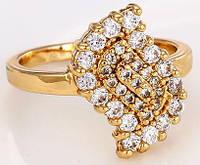 Кольцо Лист позолоченное gold filled с цирконами GF957 размер 17 - ОПТ
