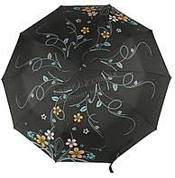 Женский прочный зонтик полуавтомат с плотным куполомMAX COMFORTart. 124 черный в цветочках(101367)