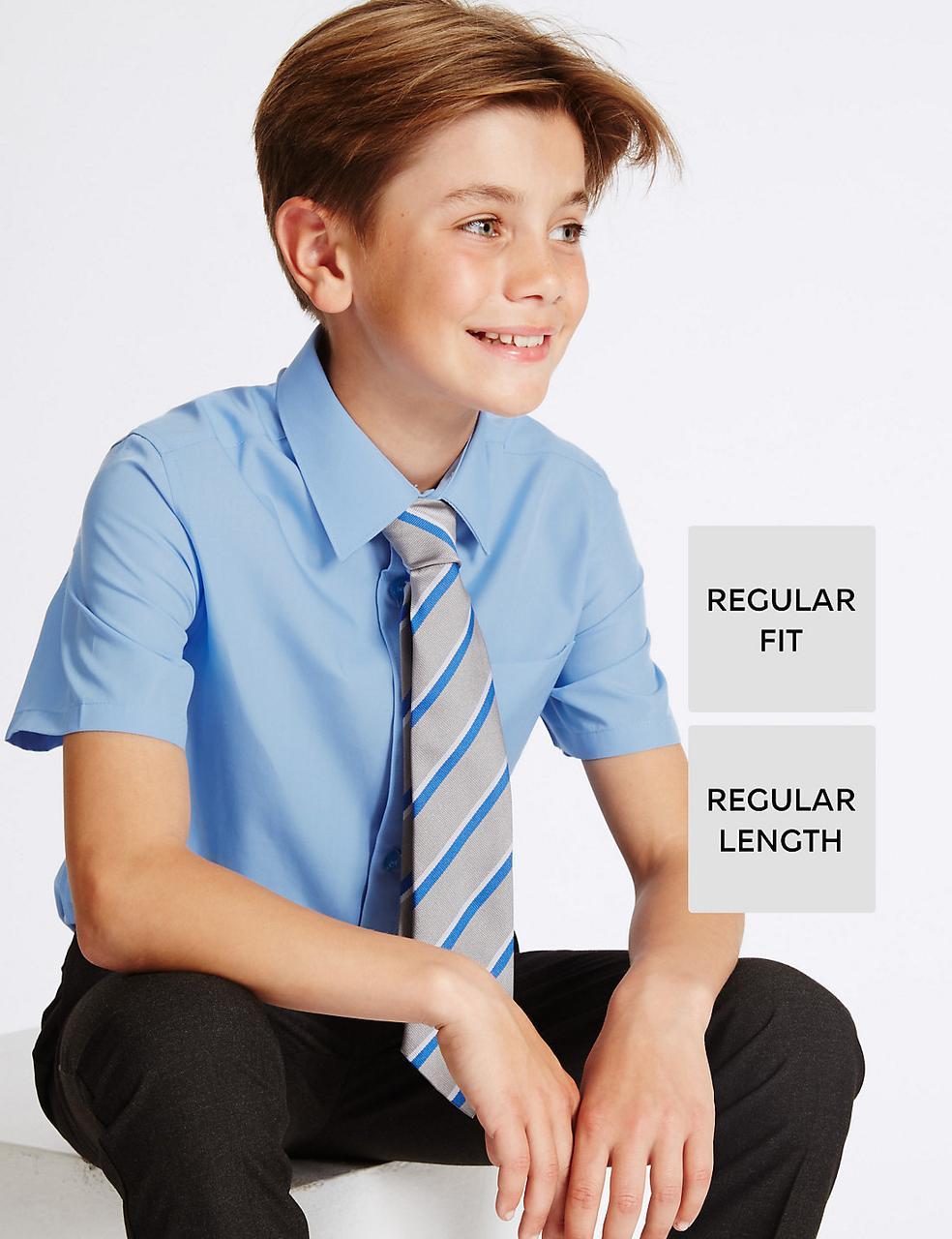Школьная рубашка голубая с коротким рукавом на мальчика 6-7-8-9 лет Easy to Iron Marks&Spencer (Англия)