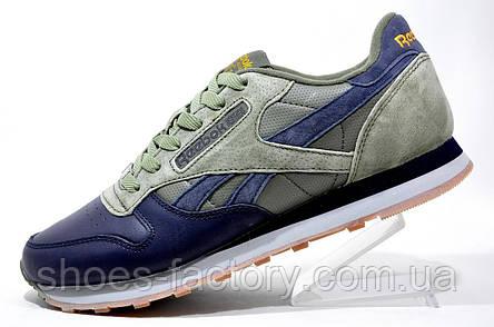 Мужские кроссовки в стиле Reebok Classic Leather PM, Khaki\Dark Blue, фото 2