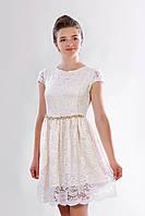 Гипюровое подростковое платье для девочки с короткими рукавами, молочное