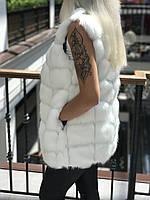 Белый меховой жилет искусственный мех песец ЭКО мех