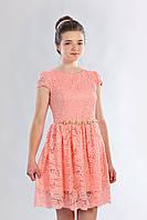 Гипюровое подростковое платье для девочки с короткими рукавами, персиковое
