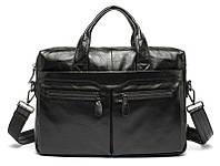 Классическая мужская сумка из натуральной кожи Bexhill; Bx9005A, чёрный 37.5х29х8.5 см.