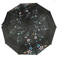 Женский прочный зонтик полуавтомат с плотным куполомMAX COMFORTart. 124 черный в цветочках(101406)