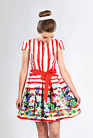Атласное подростковое платье с короткими рукавами, красное