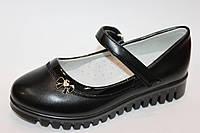 Туфли для девочек черные на тракторной подошве Tom.m  Размеры: 27 - 32