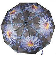 Женский прочный стильный зонтик полуавтомат S.Lart. 475 цветы на черном фоне (101408)