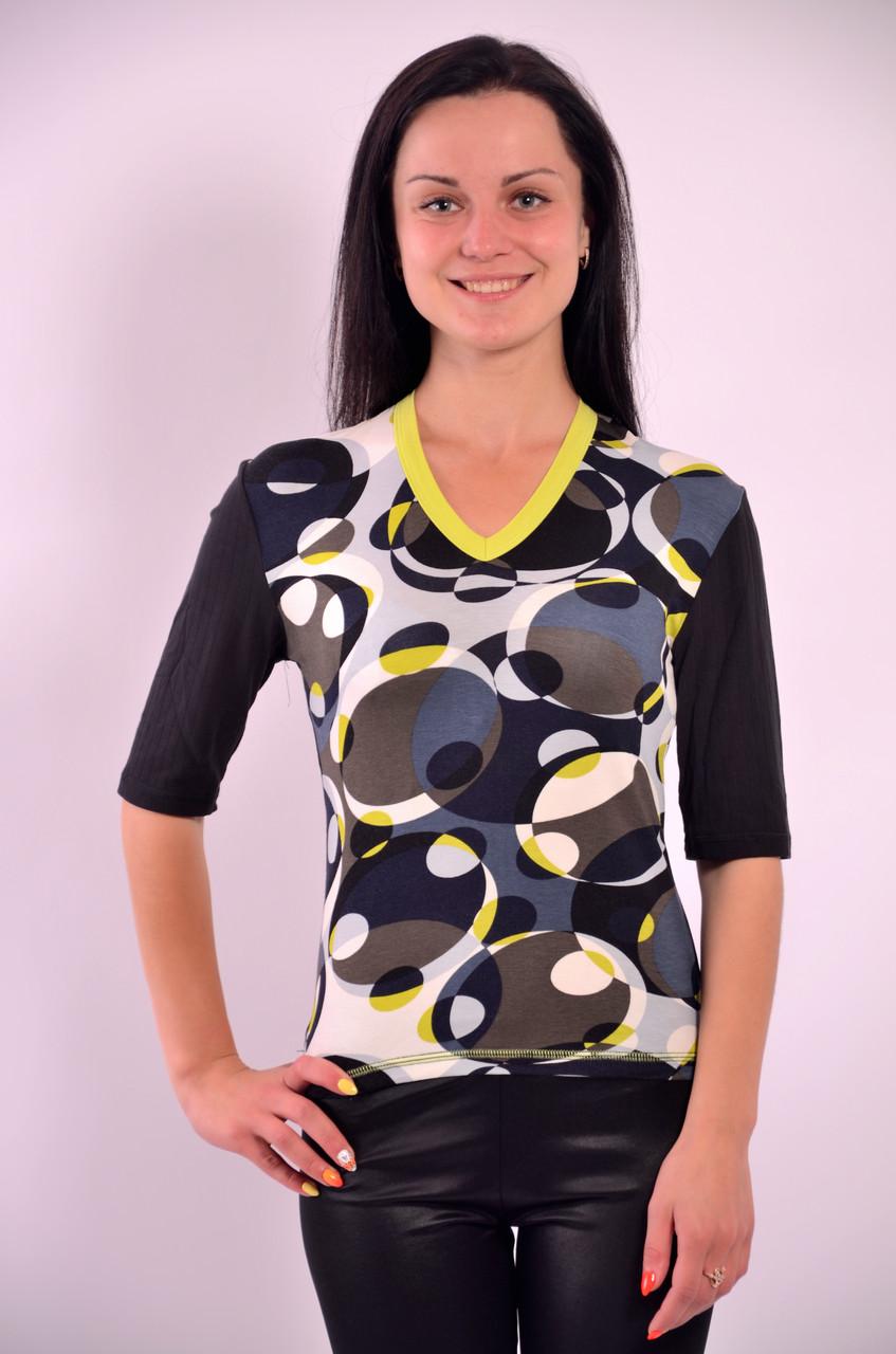 Футболка черная хлопок с геометрическим узором блуза женская(БЛ 055171)