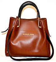 Женская элитная сумка коричневая гладкая с черными ручками 28*26