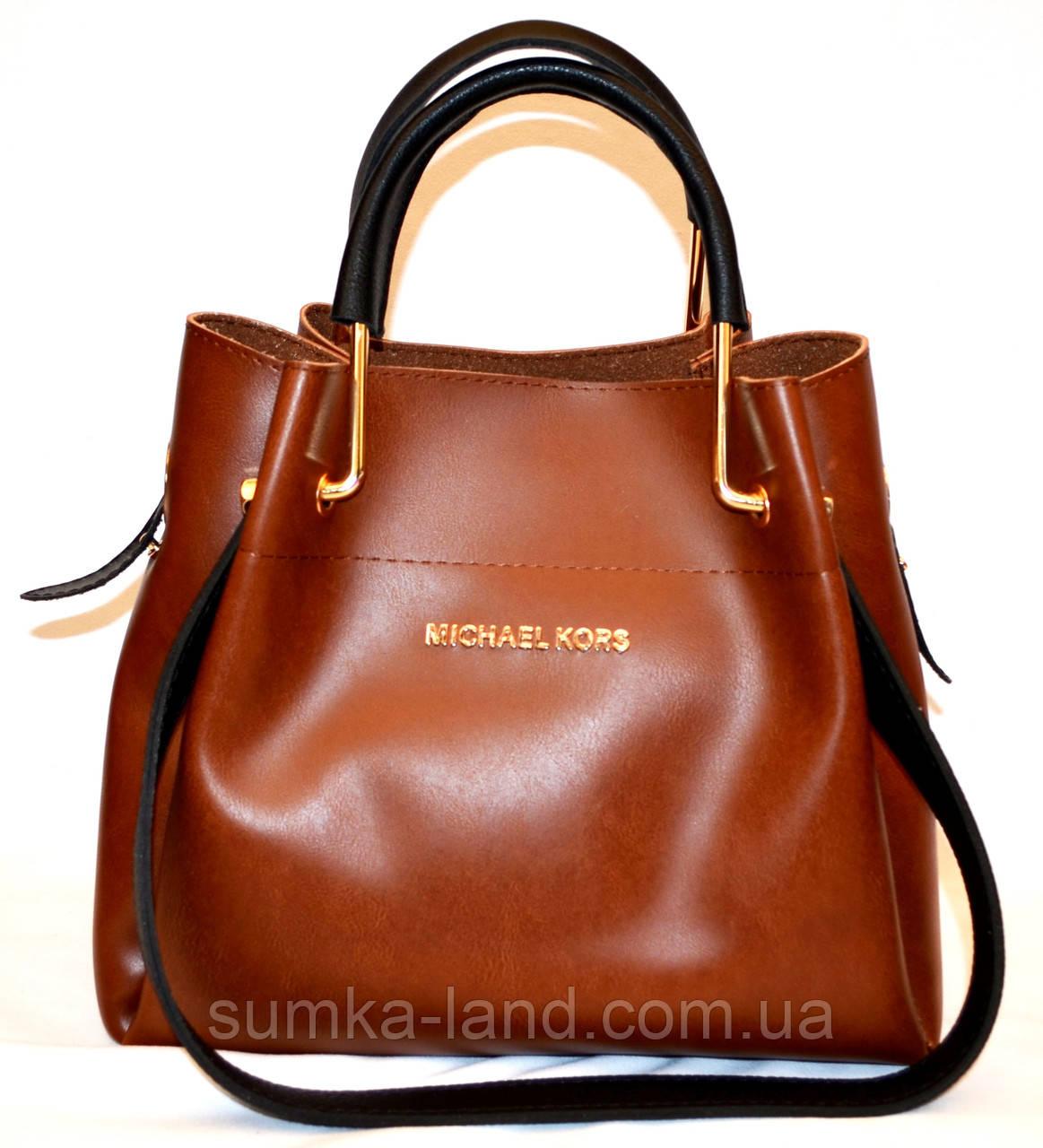 ae3afc99d798 Женская элитная сумка коричневая гладкая с черными ручками 28*26 ...