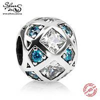 """Серебряная подвеска шарм Пандора (Pandora) """"Голубые ромбики"""" для браслета бусина"""