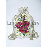Льняной женский рюкзак с кисточками и машинной вышивкой в этно стиле дизайн Пионы
