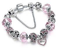 Женский браслет HEART в стиле PANDORA - Pink
