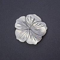 """Фурнитура """"каменный цветок"""" заготовка для украшений серый цвет тонированный перламутр d-5см"""