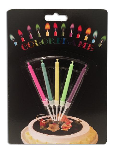 Набор свечей для торта с разноцветными огоньками 5 штук