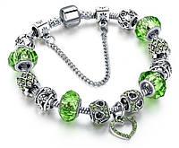 Женский браслет HEART в стиле PANDORA - Green