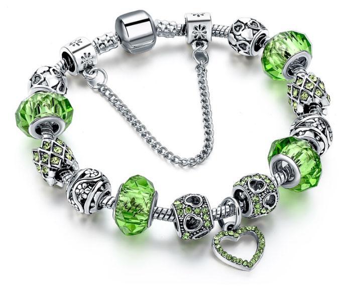 Жіночий браслет HEART в стилі PANDORA - Green