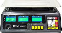 Торговые весы Crystal, электронные, 40кг, подсветка, 7 ячеек памяти цены.