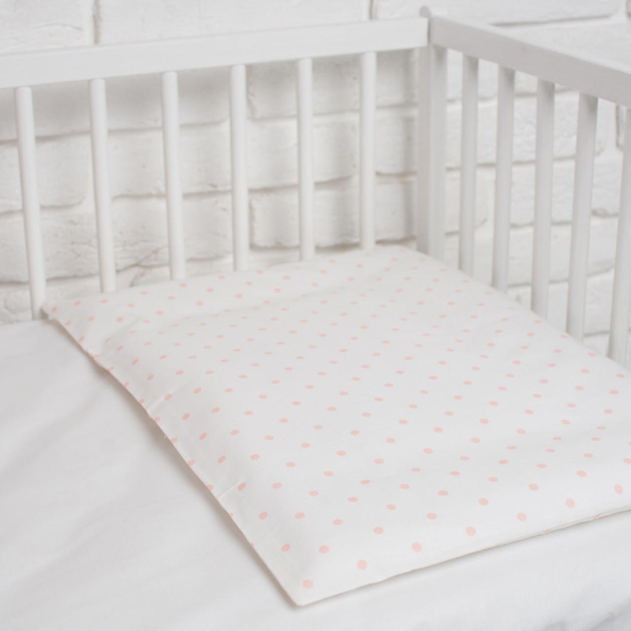 """Наволочка в дитяче ліжечко """"Персикові горошки"""""""
