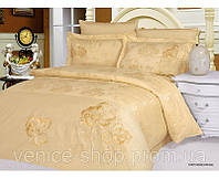 Жаккардовое постельное белье с вышивкой STEPHANIE CREAM