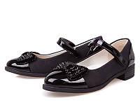 Стильные черные туфли для девочки р 31-36