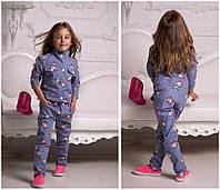 """Летний брючный детский костюм для девочки """"Винти"""" с цветочным принтом (2 цвета)"""