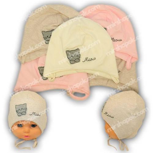 Детские шапки из трикотажа на завязках, Y1015