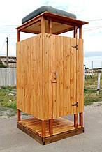Душ деревянный летний из имитации бруса открытого типа