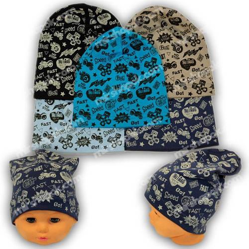 Детские шапки из трикотажа с принтом, Y111