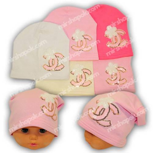 Детские шапки из трикотажа с нашивкой, Y117