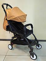 Детская коляска YOYA 175 A+ Brown ЭКОКОЖА, 3 ярусный капор, легкая, складная, компактная Йойа коричневая