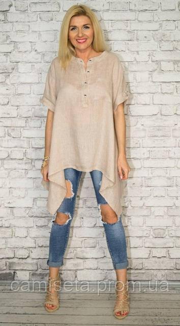 edebede2031 Асимметричная женская рубашка-туника из льна P6896  продажа