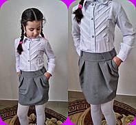 Юбка  для девочек школьная, ткань тиар,  размеры 122-128-134-140 см
