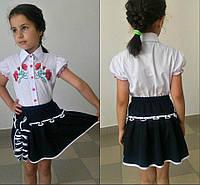 Школьная юбка для девочек-подростков, цвет синий, ткань мадонна, размеры 116-122-128-134-140 см