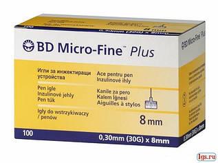 Иглы инсулиновые Микро-Файн Плюс 8мм / Micro-fine plus, 100 шт.