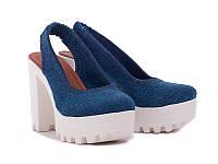 Босоножки синие на каблуке