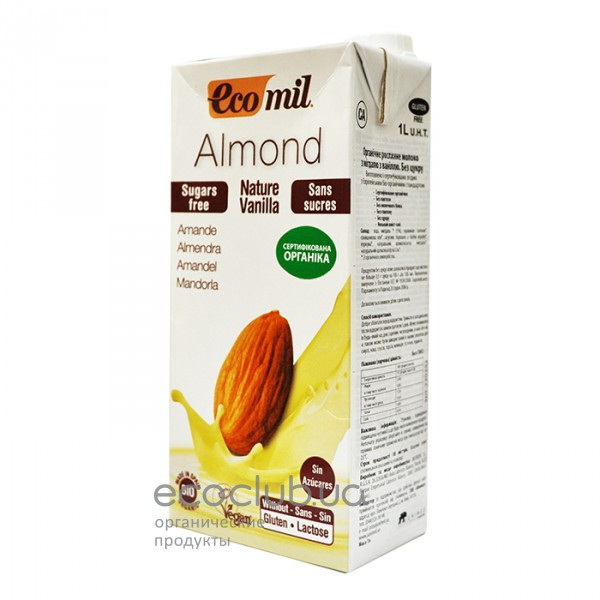 Молоко органическое растительное из миндаля с ванилью без сахара ТМ EcoMil 1л