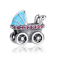Серебряный шарм Пандора (Pandora) детская коляска