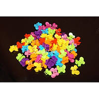 """Крабики цветные яркие """"Бабочки"""", (100 шт), ВВ0027"""
