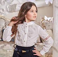 Блуза школьная нарядная на девочку Линсей Размеры 116- 140 Цвет молочный