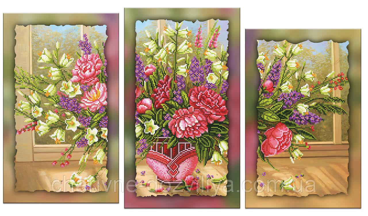 """Схема-триптих для вышивки бисером на подрамнике (модульная картина) """"Роскошный букет с пионами"""""""